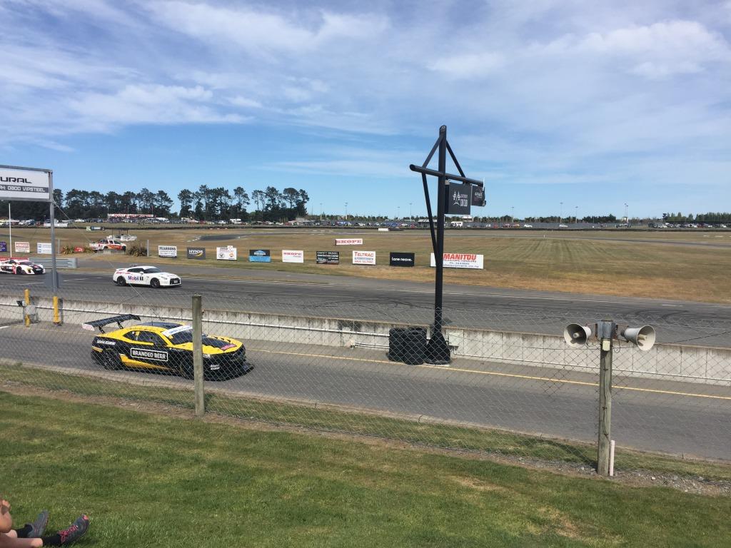 Black and Yellow Racing car at Ruapuna